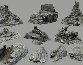 Rock set plant 3D model VR / AR ready