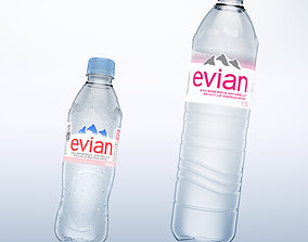 Pack of 2 bottle Evian 50cl and 150cl 3D