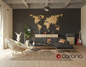 Bowie Living Room Design 3D