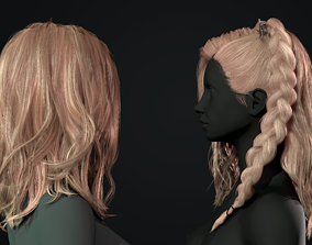 3D asset Realtime hair female body and bow