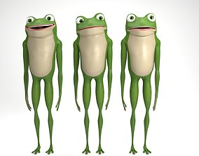 3D model rigged Cartoon frog