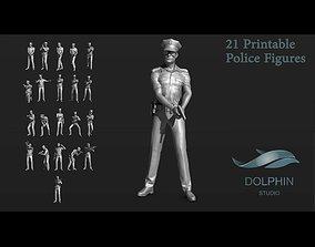 3D printable model 21 Police figures Set 01 activity