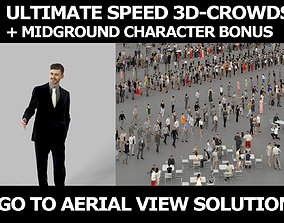 3d crowds and Posture A Midground Business Man Smiling