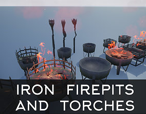 3D model Medieval Iron Firepit and Torch