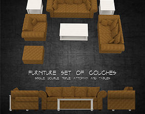 Sofa and tables furniture set multiple sizes 3D asset