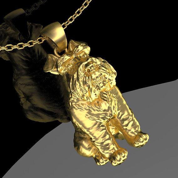 Miniature Schnauzer Gog Pendant jewelry Gold 3D print model