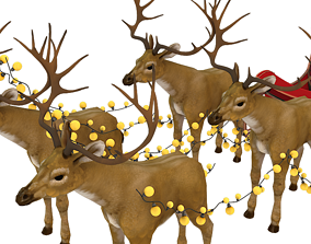 Santa deer and red sleigh 3D