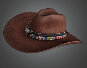 3D model low-poly Cowboy Hat - HAT - PBR Game Ready