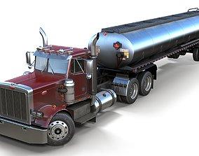3D model Peterbilt 359 fuel trailer