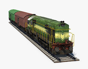 3D Diesel Locomotive and Box Car