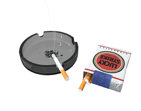 Lucky Strike cigarette pack with ashtray 3D