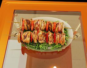 Grilled Chicken Kebab 3D