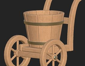 3D asset Cartoon wooden bucket on wheels