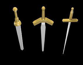 Low poly swords 3D asset