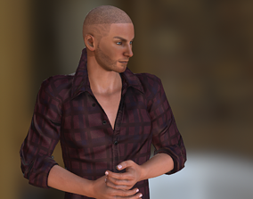 animated 3d Cool fighter casual wear man model ready 1