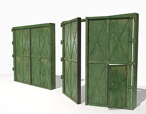3D model game-ready Industrial metal gate 2