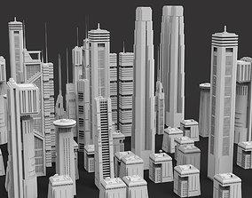 3D model SCIFI FUTURISTIC SKYCRAPERS BUILDINGS