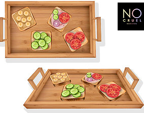 Kitchen Tray with toasts mesh 3D asset