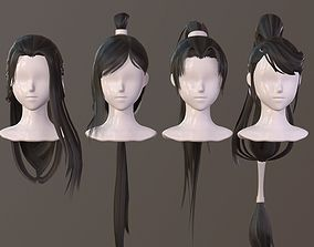 3D model The girl hair Restoring ancient ways ponytail 1