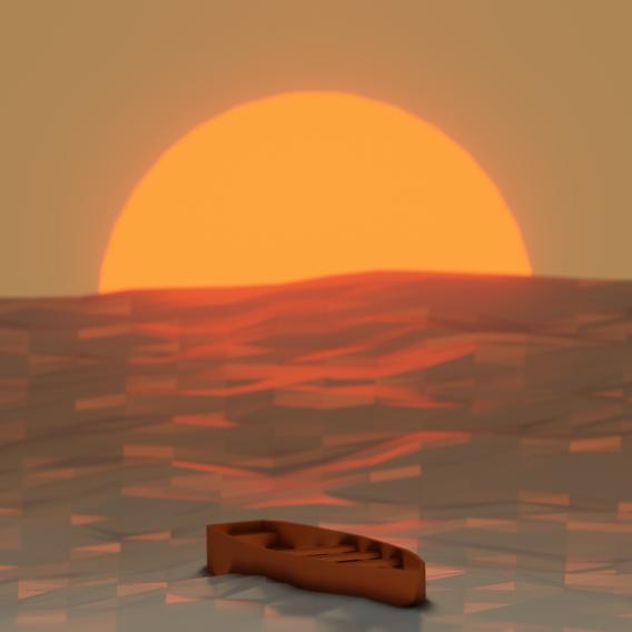 Low-Poly Ocean & Boat