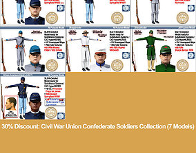 Civil War Union Confederate Soldiers Collection 3D model