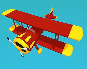 Toon biplane 3D asset