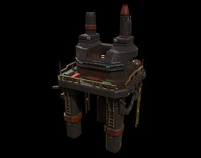 Low poly futuristic oil rig building asset realtime