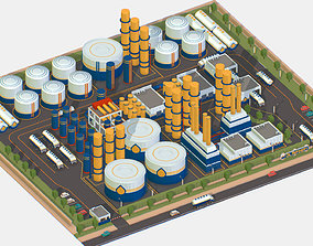 Isometric Complex Crude Oil Processing Plant 3D model