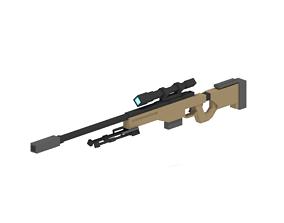 VR / AR ready AWM Sniper Rifle Minecraft JSON Model