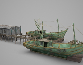 3D model Modern construction fishing boat wharf