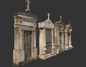 3D Mausoleum Entrances Lined Side By Side