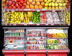 Market refrigerators 3D model