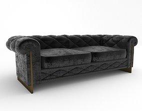 black velvet sofa 3D model