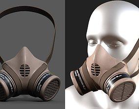 3D asset Gas mask respirator military combat soldier