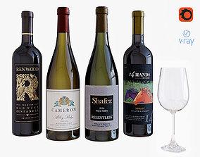 wine bottle set 16 3D model