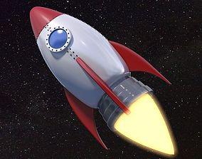 3D model Cartoon Rocket Ship V1