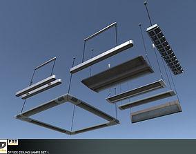 3D model Office Ceiling Lamps Set 1