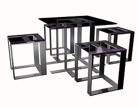 Glassed table set 3D asset