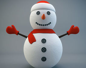 Cartoon Snowman 3D asset