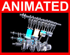 V8 Engine Ignition Animation 3D model