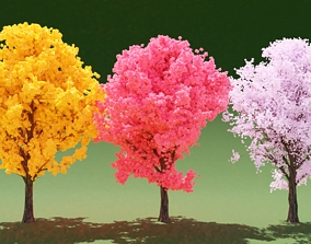 3 Colorful Trees 3D