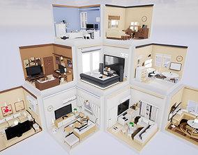 Isometric interior Room v01 3D asset