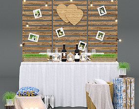 3D Set for a wedding photo shoot in the style of