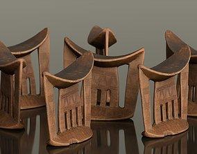 Headrest Africa Wood Furniture Prop 37 3D asset