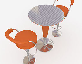 3D Orange Cocktail table and bar stools