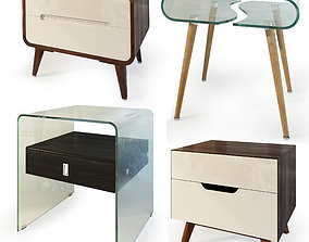 3D model Modern nightstand and bedside table set IMODERN