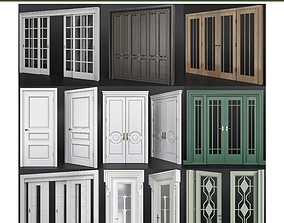 Doors low poly 3d model collection game-ready