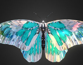 3D model Batterfly Teal Low Polygon Art Insect