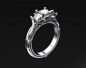 rings millgrain 3D print model Engagement ring