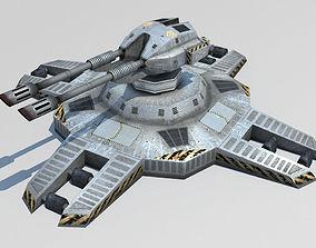 Turret sci-fi lowpoly 3d model